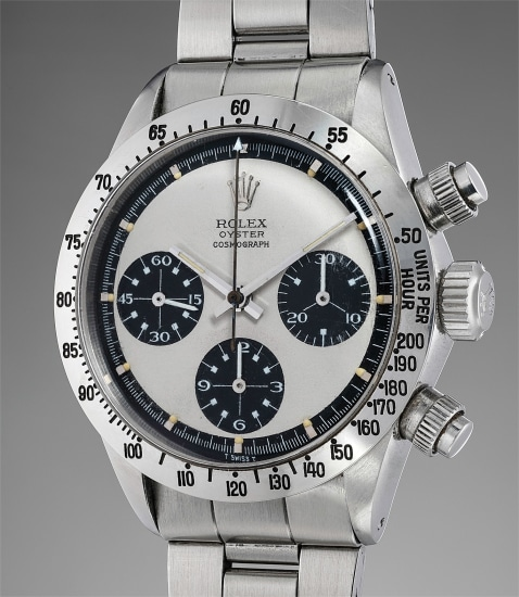 """A fine, extremely rare and exceptionally well preserved stainless steel chronograph wristwatch with Mark 2 """"Paul Newman"""" dial and bracelet"""
