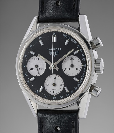 A stainless steel chronograph chronograph with black dial