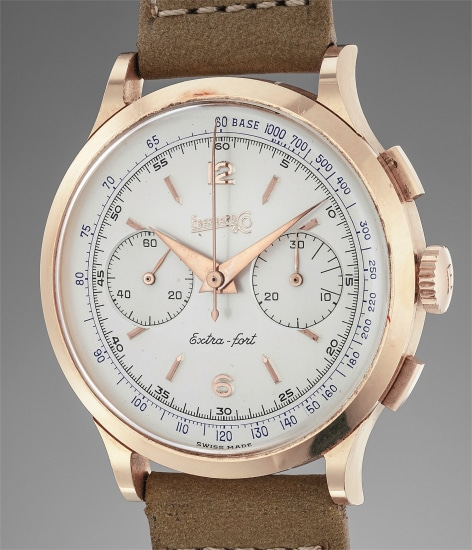 A very attractive and well preserved large pink gold chronograph wristwatch