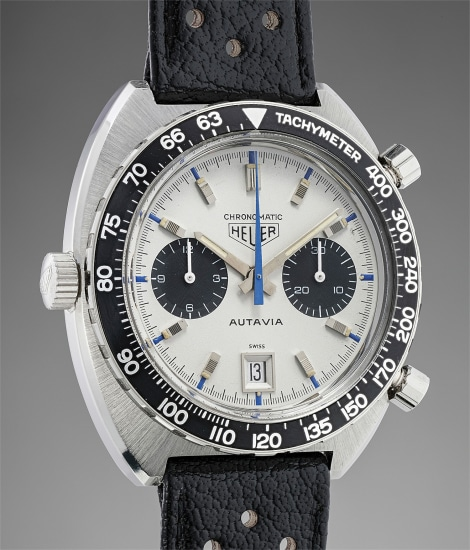 An important and very rare stainless steel chronograph wristwatch with date aperture at 6 o'clock, blue accents on the dial, tachymeter bezel, original box.