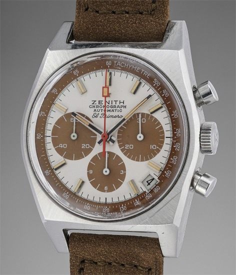 An extremely attractive and very rare stainless steel automatic chronograph wristwatch with date and brown tropical registers
