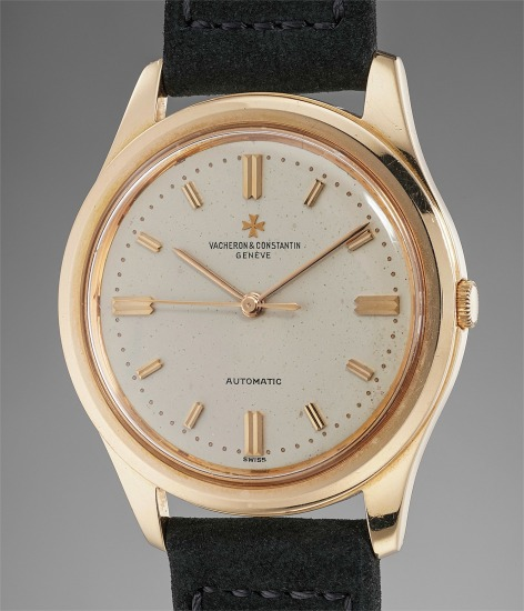 A large, rare and attractive pink gold wristwatch with center seconds