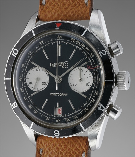 A fine and very appealing stainless steel chronograph wristwatch with roulette date