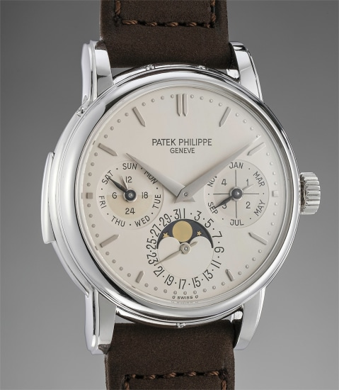 An incredibly rare and attractive platinum minute repeating perpetual calendar wristwatch with phases of the moon