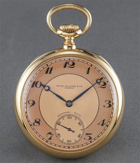 A rare and extremely attractive yellow gold open face watch with two tone pink dial and Guillaume balance