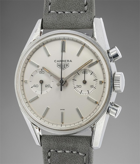 A very attractive early stainless steel chronograph wristwatch with eggshell dial and two subsidiary registers