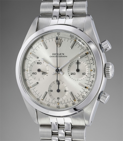 A fine and rare stainless steel chronograph wristwatch with silvered dial and bracelet