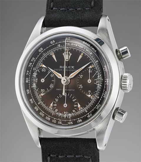 """A very fine, extremely rare and highly important stainless steel chronograph wristwatch with """"Suspended T"""" degradé brown tropical glossy dial"""
