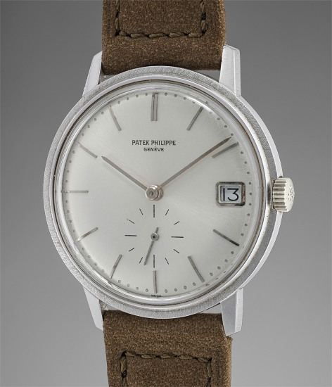 A very fine and rare white gold automatic wristwatch with date