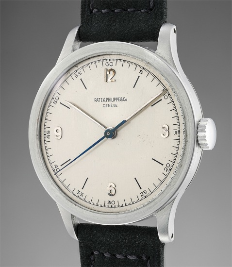 A rare and incredibly well-preserved stainless steel wristwatch with indirect center seconds