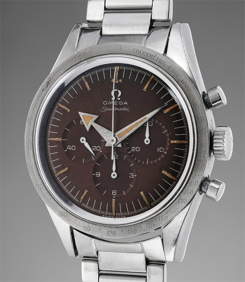 "An extremely rare, early and important stainless steel chronograph wristwatch with Broad Arrow hands, ""tropical"" dial and bracelet"