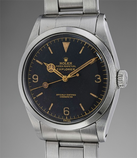 A very rare and unusual stainless steel wristwatch with center seconds, bracelet, red depth rating, guarantee, Bureaux Suisses de Controle Officiel de la Marche des Montres, box and hang tag