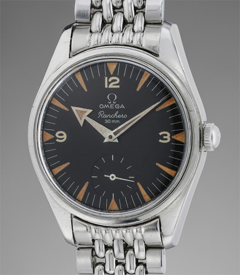 A fine and attractive stainless steel wristwatch with black dial, Broad Arrow hands, subsidiary seconds, and bracelet