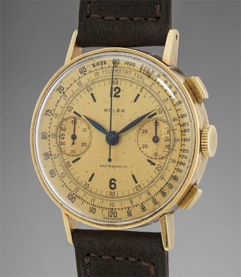 An attractive yellow gold chronograph wristwatch