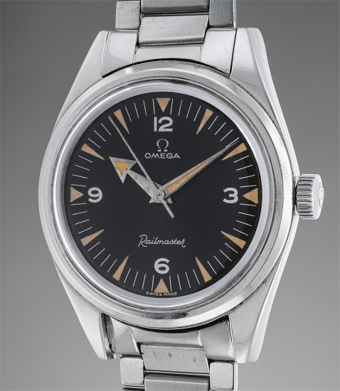 An extremely rare and very attractive stainless steel wristwatch with black dial and Broad Arrow hands
