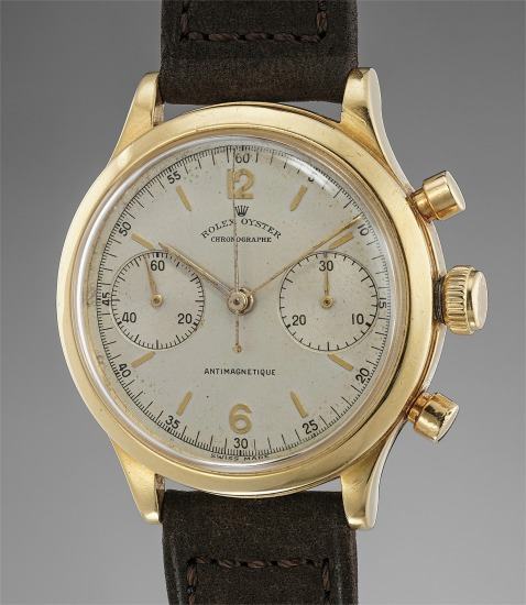 A very appealing and rare yellow gold chronograph wristwatch
