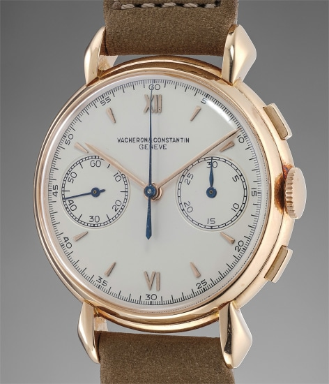 """A very fine and rare pink gold chronograph with """"tear drop"""" lugs"""