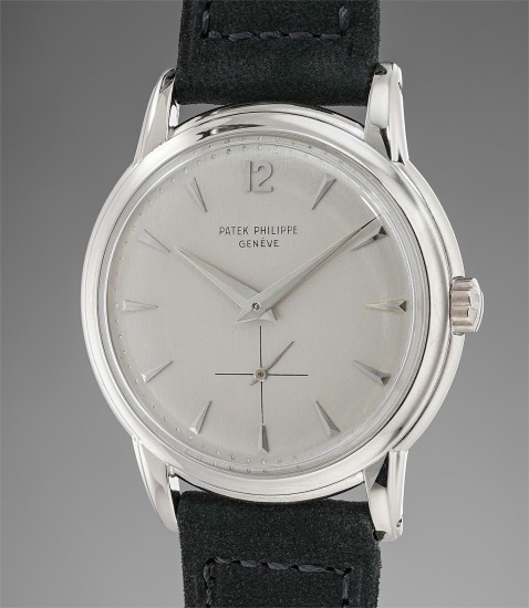 A very rare and fine white gold wristwatch with presentation box