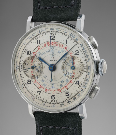 A fine and very attractive stainless steel chronograph wristwatch with multi-scale two-tone dial