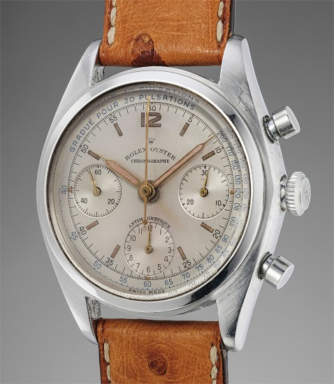 A fine, rare and attractive stainless steel chronograph wristwatch with pulsations scale