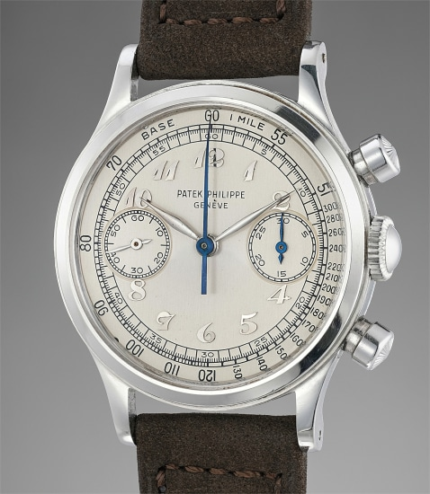 An extremely rare and incredibly well-preserved stainless steel chronograph wristwatch with Breguet numerals