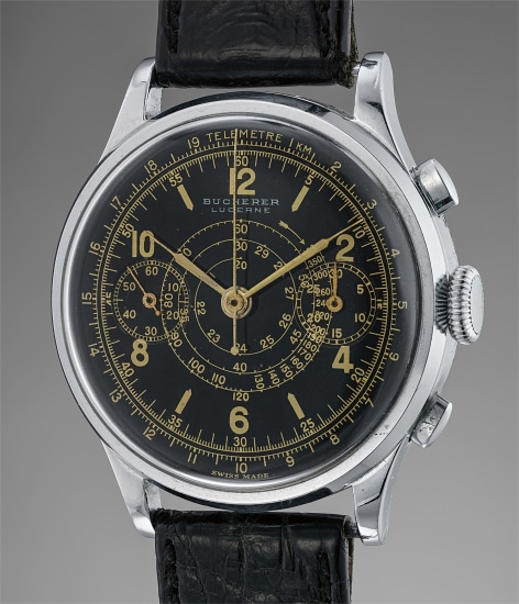 An appealing and large plated and stainless steel chronograph wristwatch with black glossy dial and gilt printing