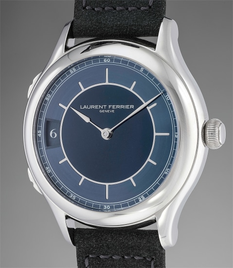 A very fine and rare limited edition titanium dual time wristwatch with blue enamel dial