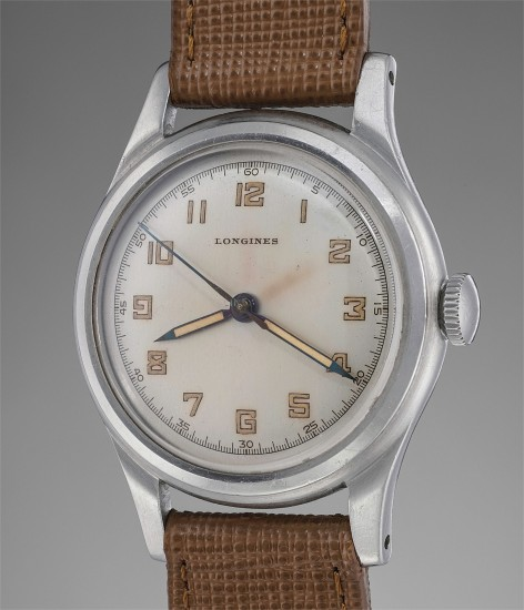 A fine and extremely attractive stainless steel wristwatch with center seconds and luminous numerals