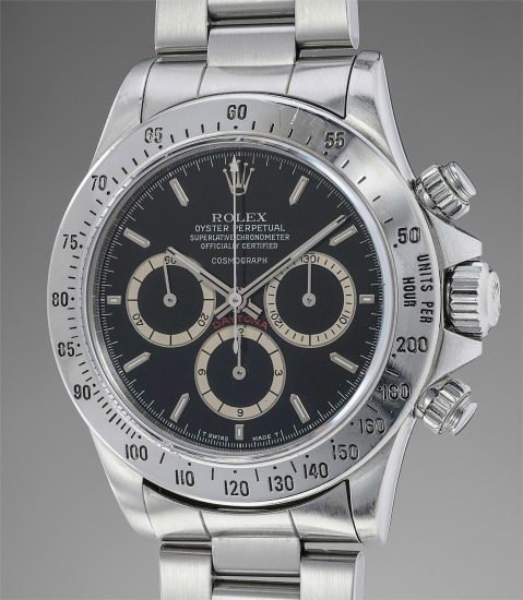"""A fine, rare and early stainless steel automatic chronograph wristwatch with """"floating Daytona"""" dial and bracelet"""