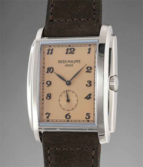 A fine and attractive white gold wristwatch with salmon dial and Breguet numerals