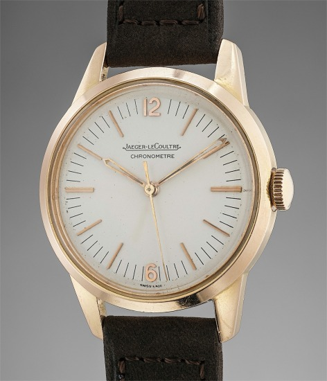 An extremely rare and attractive pink gold chronometer wristwatch with center seconds