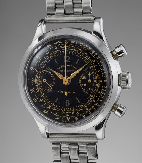 A very fine, rare and attractive stainless steel chronograph wristwatch with black dial and bracelet