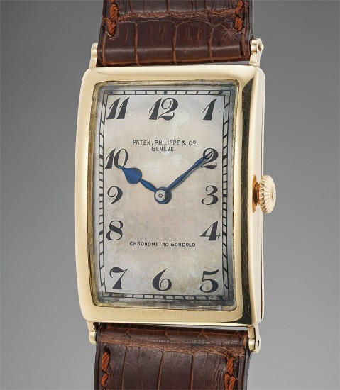 An extremely rare pink gold oversized rectangular hinged wristwatch with Breguet numerals, retailed by Gondolo & Labouriau