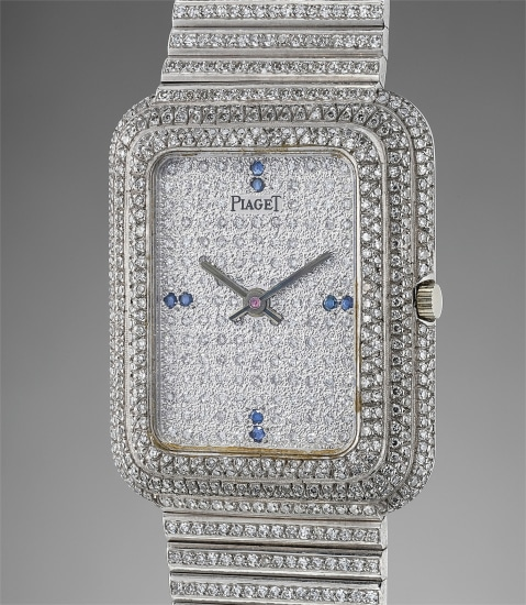 A fine and rare white gold, diamond and sapphire-set rectangular electronic wristwatch with 'Beta 21' movement