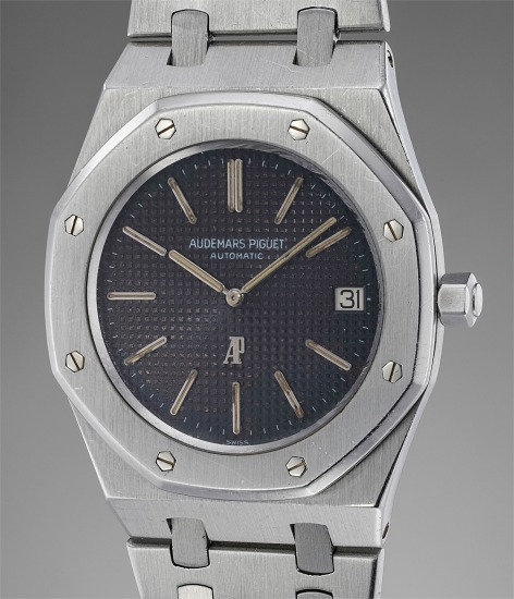 """A rare and attractive stainless steel wristwatch with tobacco """"tropical"""" dial, date and bracelet"""