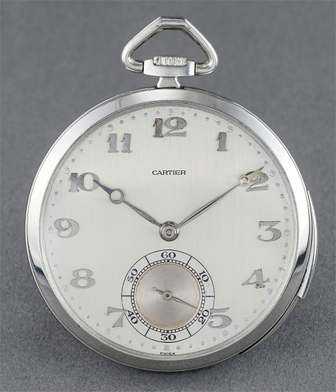 An attractive platinum minute repeating openface watch with Breguet numerals and two-tone dial, retailed by Cartier