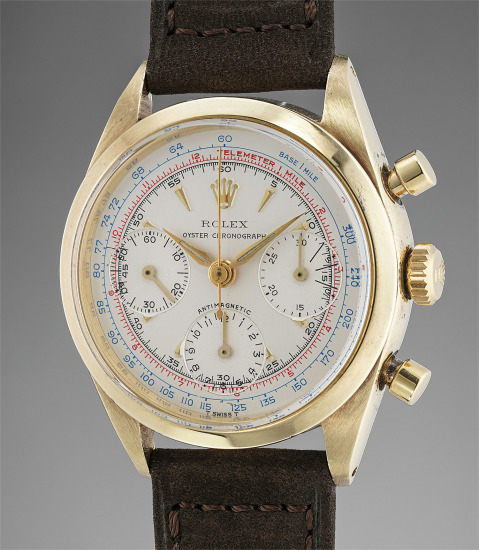 A very rare 14K yellow gold chronograph wristwatch with telemeter and tachymeter scales