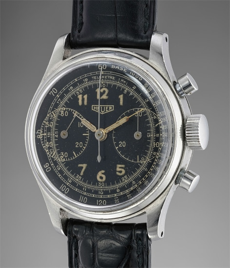 An early stainless steel chronograph wristwatch with black dial and two oversized registers