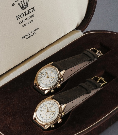 A set of two rare and very attractive 9K yellow gold chronograph wristwatches with consecutive case numbers, offered in a joint presentation box