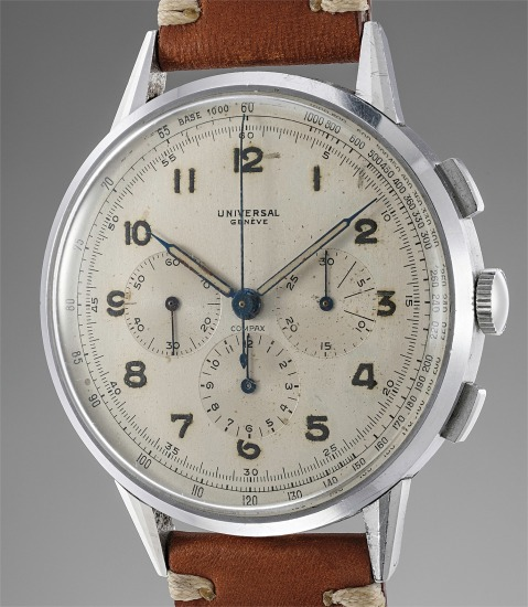 A fine, very large and extremely attractive stainless steel chronograph wristwatch with faceted lugs