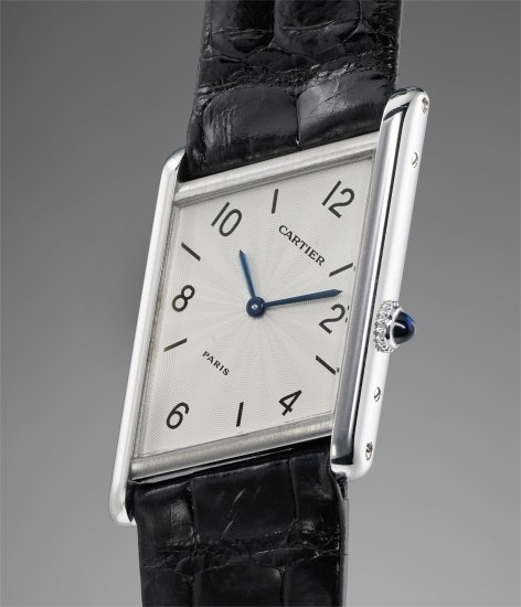 A rare and unusual asymmetrical platinum limited edition wristwatch