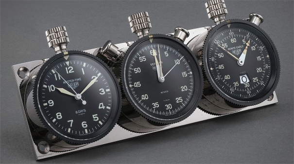 An extremely rare set of three dash-mounted timers retailed by Meister