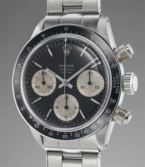 """A rare and early stainless steel chronograph wristwatch with """"floating"""" Daytona logo and bracelet"""