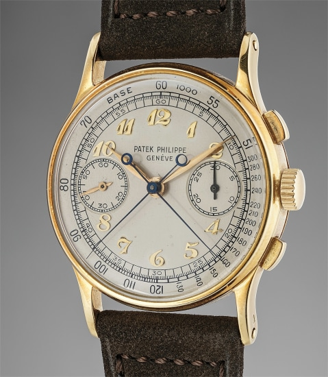 An extremely fine and rare yellow gold split seconds chronograph wristwatch with Breguet numerals
