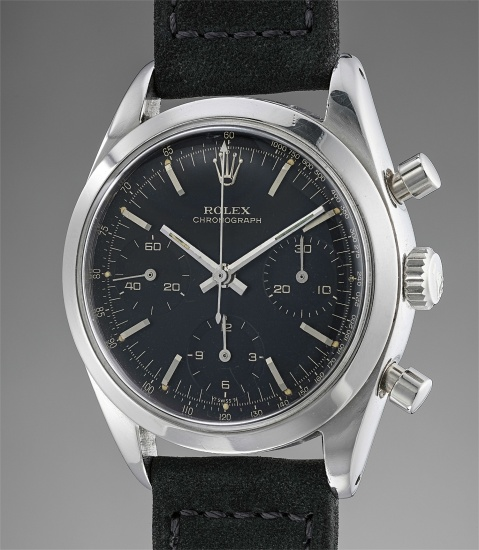 A rare and attractive stainless steel chronograph wristwatch with black dial