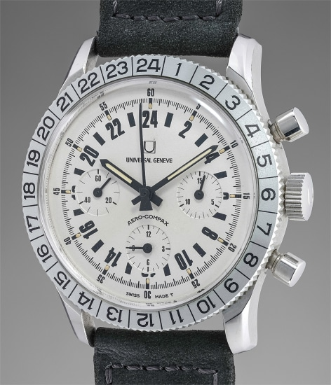 A very attractive stainless steel chronograph wristwatch with 24-hour dial and revolving bezel