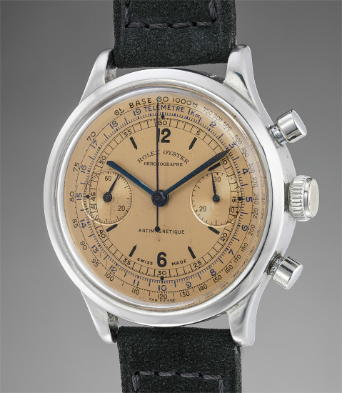 An extremely rare and highly attractive stainless steel chronograph wristwatch with salmon dial, tachymeter and telemeter scales