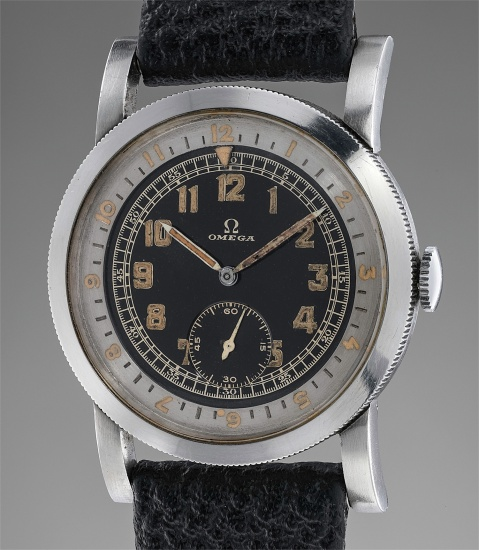 A rare and attractive stainless steel aviator's wristwatch with black dial and revolving bezel