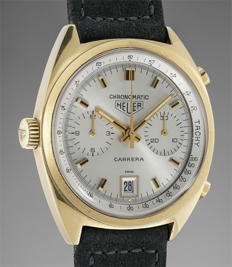 An early automatic yellow gold chronograph wristwatch with silver dial and date