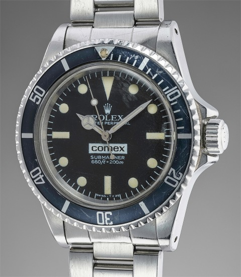 A fine, important and very rare stainless steel automatic diver's wristwatch with center seconds, Helium Escape Valve, Maxi dial and bracelet, made for Comex